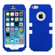 Insten® TUFF Hybrid Phone Protector Cover F/iPhone 5/5S, Titanium Dark Blue/Solid White