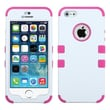 Insten® TUFF Hybrid Phone Protector Cover F/iPhone 5/5S, Ivory White/Hot-Pink