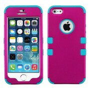 Insten® TUFF Hybrid Phone Protector Cover F/iPhone 5/5S, Titanium Solid Hot-Pink/Tropical Teal