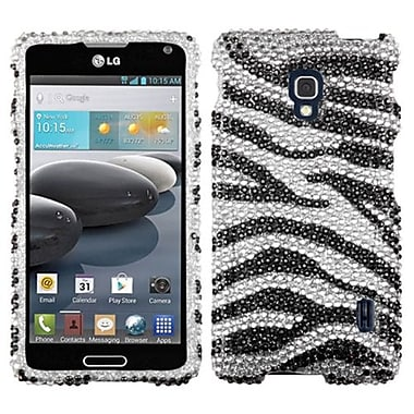 Insten® Diamante Protector Cover For LG D500/MS500, Black Zebra