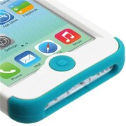Insten® TUFF Hybrid Phone Protector Cover F/iPhone 5C, Ivory White/Tropical Teal
