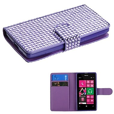 Insten® Diamonds Book-Style MyJacket Wallet With Card Slot For Nokia 521, Purple