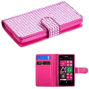 Insten® Diamonds Book-Style MyJacket Wallet With Card Slot For Nokia 521, Pink