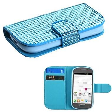 Insten® Diamonds Book-Style MyJacket Wallet W/Card Slot F/Samsung T599 Galaxy Exhibit, Light Blue