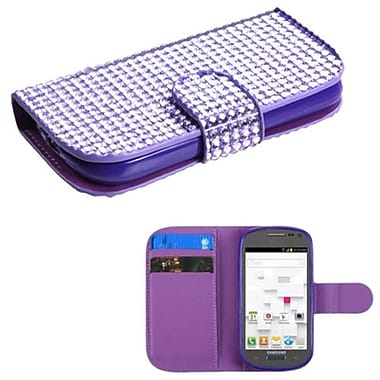 Insten® Diamonds Book-Style MyJacket Wallet W/Card Slot F/Samsung T599 Galaxy Exhibit, Purple