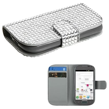 Insten® Diamonds Book-Style MyJacket Wallet W/Card Slot F/Samsung T599 Galaxy Exhibit, Silver