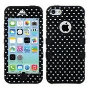Insten® TUFF Hybrid Phone Protector Cover F/iPhone 5C, Black Vintage Heart Dots/Black