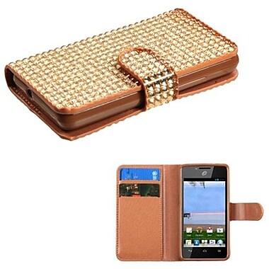 Insten® Diamonds Book-Style MyJacket Wallet For Huawei H881C/Y301, Gold