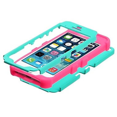 Insten® TUFF Hybrid Rubberized Phone Protector Cover F/iPhone 5/5S, Teal Green/Electric Pink