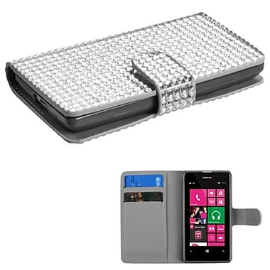 Insten® Diamonds Book-Style MyJacket Wallet With Card Slot For Nokia 521, Silver