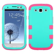 Insten® Rubberized TUFF Hybrid Phone Protector Case F/Samsung Galaxy SIII, Teal Green/Electric Pink