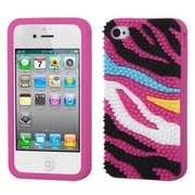 Insten® Pastel Skin Case F/iPhone 4/4S, Colorful Zebra Skin Spike/Hot-Pink