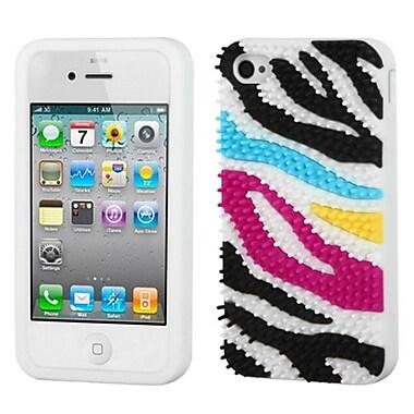 Insten® Pastel Skin Case F/iPhone 4/4S, Colorful Zebra Skin Spike/White