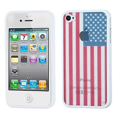 Insten® Gummy Case F/iPhone 4/4S, Glassy United States National Flag/Solid White