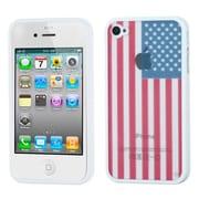 Insten® Gummy Case F/iPhone 4/4S, Glassy United States National Flag/Solid White
