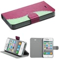 Insten® Silk Texture MyJacket Wallet Cases W/Diamonds and Tray F/iPhone 4/4S