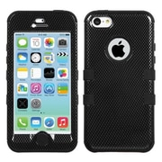 Insten® TUFF Hybrid Phone Protector Cover F/iPhone 5C, Carbon Fiber/Black