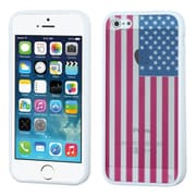 Insten® Glassy Gummy Cover F/iPhone 5/5S, United States National Flag/Solid White