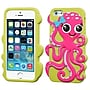 Insten® Pastel Skin Cover F/iPhone 5/5/5SC, Hot-Pink/Green Grass