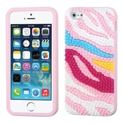 Insten® Pastel Skin Cover F/iPhone 5/5S, Colorful Zebra Spike/Pink
