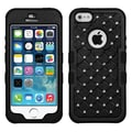Insten® TUFF Hybrid Phone Protector Cover W/Flower Studs For iPhone 5/5S, Natural Black/Black