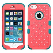 Insten® TUFF Hybrid Phone Protector Cover W/Diamonds F/iPhone 5/5S, Natural Baby Red/Tropical Teal