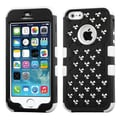 Insten® TUFF Hybrid Phone Protector Cover W/Flowe Studs For iPhone 5/5S, Natural Black/White