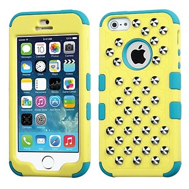 Insten® TUFF Hybrid Phone Protector Cover W/Studs F/iPhone 5/5S, Natural Baby Yellow/Tropical Teal