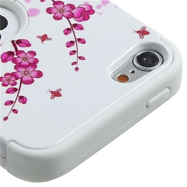 Insten® TUFF Hybrid Protector Cover F/iPod Touch 5th Gen, Spring Flowers/Solid White