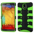 Insten® Rubberized Hybrid Protector Case For Samsung Galaxy Note 3, Black/Electric Green Ribcage