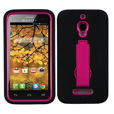 Insten® Symbiosis Stand Protector Case For Alcatel 7024W, Hot-Pink/Black