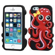 Insten® Pastel Skin Cover F/iPhone 5/5/5SC, Red/Black Octopus