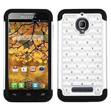 Insten® Luxurious Lattice Dazzling TotalDefense Protector Case For Alcatel 7024W, White/Black