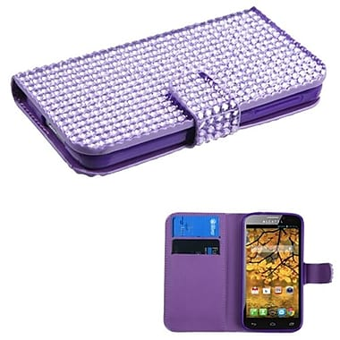 Insten® Diamonds Book-Style MyJacket Wallet With Card Slot For Alcatel 7024W, Purple