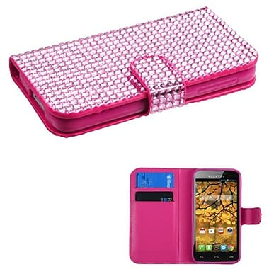 Insten® Diamonds Book-Style MyJacket Wallet With Card Slot For Alcatel 7024W, Pink