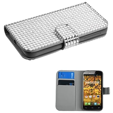 Insten® Diamonds Book-Style MyJacket Wallet With Card Slot For Alcatel 7024W, Silver