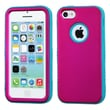 Insten® VERGE Hybrid Protector Case F/iPhone 5C, Titanium Solid Hot-Pink/Tropical Teal