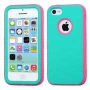 Insten® VERGE Hybrid Rubberized Protector Case F/iPhone 5C, Teal Green/Lightning Electric Pink