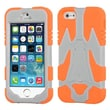 Insten® Cyborg Hybrid Phone Protector Cover F/iPhone 5/5S, Natural Silver Grey/Orange
