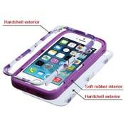 Insten® VERGE Hybrid Protector Cover F/iPhone 5/5S, Purple Hibiscus Flower Romance/Electric Purple