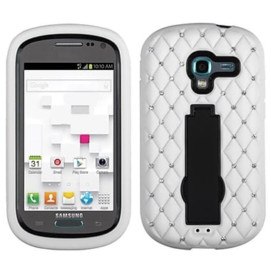 Insten® Symbiosis Stand Protector Case W/Diamonds F/Samsung T599 Galaxy Exhibit, Black/White