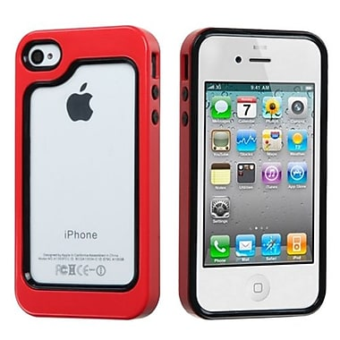 Insten® MyBumper Phone Protector Case F/iPhone 4/4S, Black/Solid Red