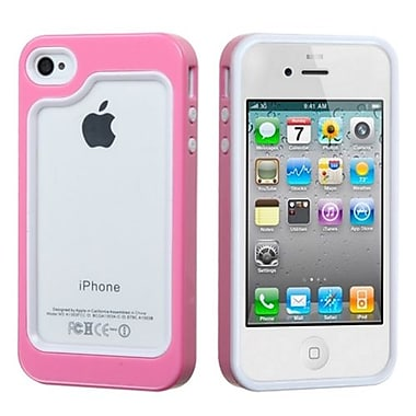 Insten® MyBumper Phone Protector Case F/iPhone 4/4S, White/Solid Pink
