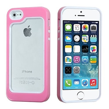 Insten® MyBumper Phone Protector Cover F/iPhone 5/5S, White/Solid Pink