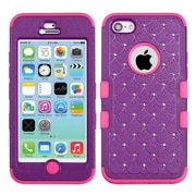 Insten® TUFF Hybrid Phone Protector Cover W/Diamonds F/iPhone 5C, Natural Purple/Electric Pink