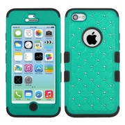 Insten® TUFF Hybrid Phone Protector Cover W/Diamonds F/iPhone 5C, Natural Grass Green/Black