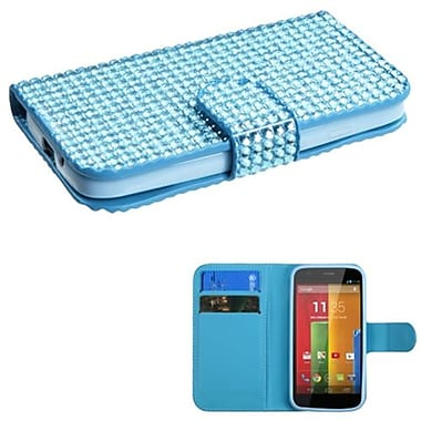 Insten® Book-Style MyJacket Wallet For Motorola G, Light Blue Diamonds