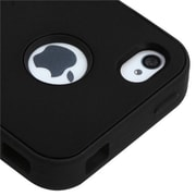 Insten® VERGE Hybrid Rubberized Protector Case F/iPhone 4/4S, Black/Black