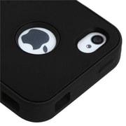 Insten® VERGE Hybrid Rubberized Protector Case F/iPhone 4/4S, Black/Black