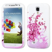 Insten® VERGE Hybrid Protector Case For Samsung Galaxy S4, Spring Flowers/Solid White
